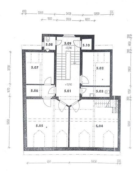 Půdorys 4. patra - podkroví