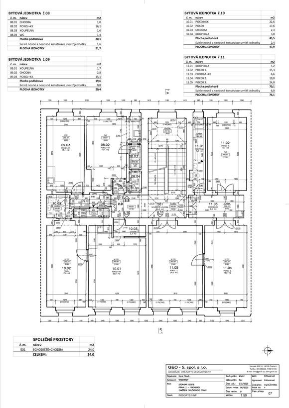 Půdorys 5. nadzemní podlaží