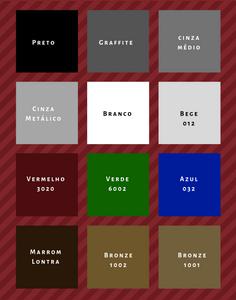 Cores disponíveis na pintura eletrostática Gradini (*imagens meramente ilustrativas)