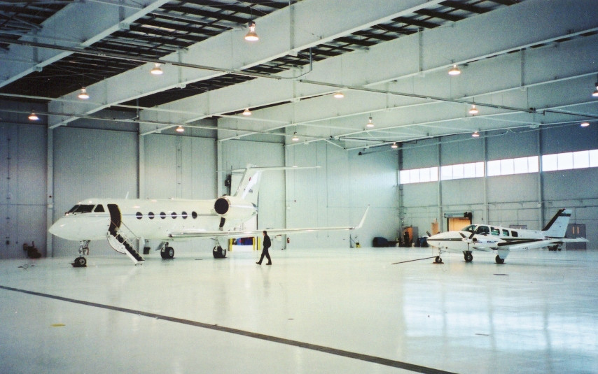 Tube Heaters in Private Airplane Hangar