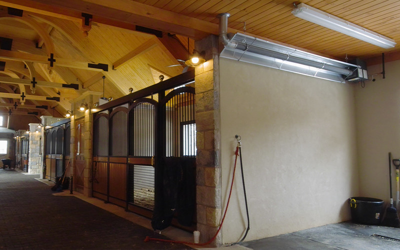 Horse Grooming Area Heated with Infrared Tube Heater