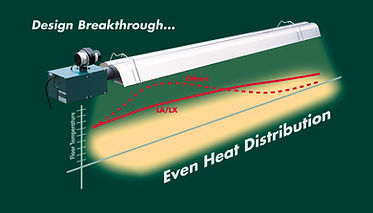 Superior Radiant L Series radiant tube heaters for agriculture and low clearance applications.