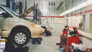 Infrared Tube Heater Over Mechanic Work Station