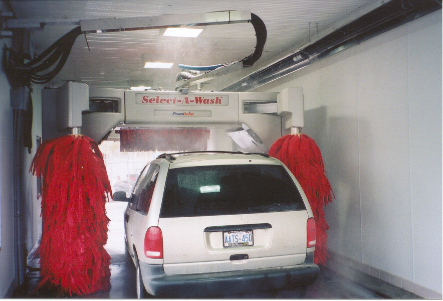 infrared tube heater in an automatic car wash bay
