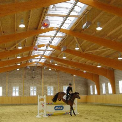 High Intensity infrared heaters in a horse riding arena