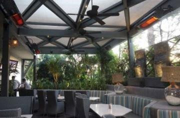 Habanero heaters in patio seating area