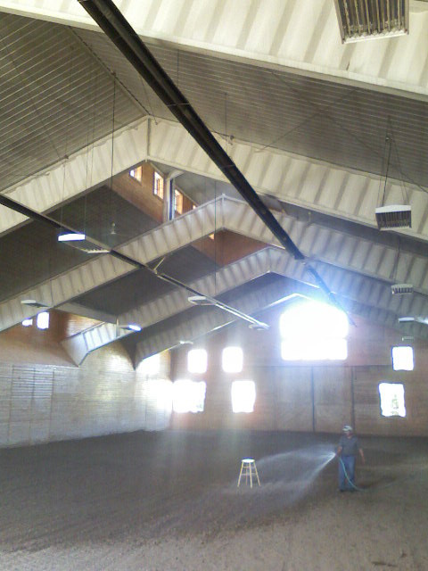 Horse riding arena with propane gas infrared tube heaters