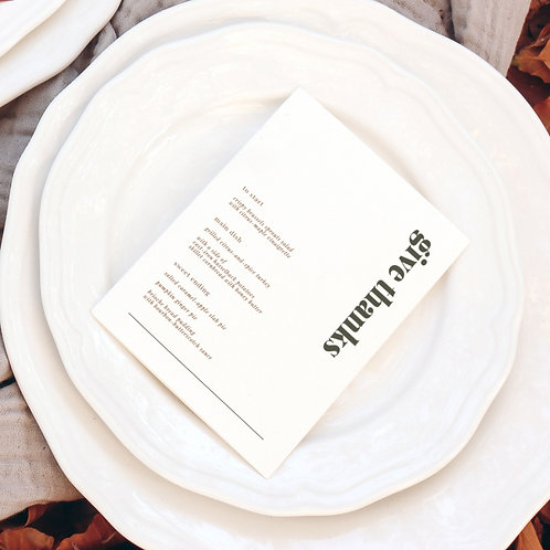 Give Thanks Menu