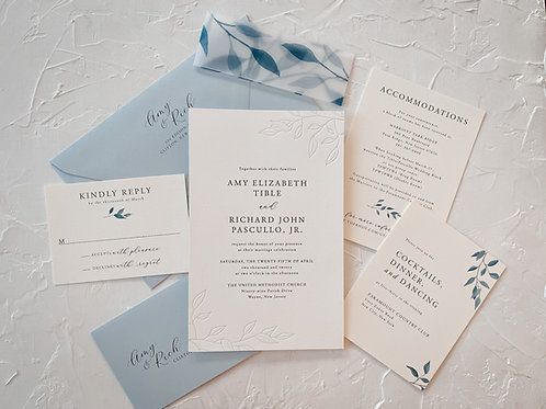 The Amy Blue Greenery Letterpress Suite