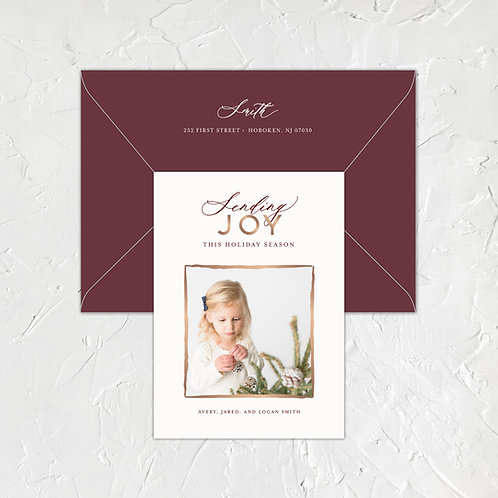 Sending Joy Foil Photo Card