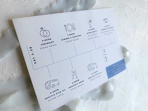 The Holly Welcome Itinerary Card