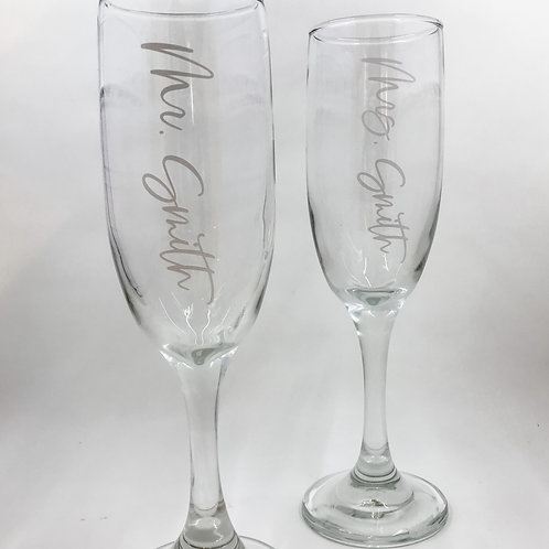 Mr./Mrs. Personalized Champagne Flute