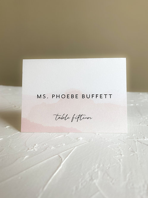 The Lesley Modern Watercolor Escort Card