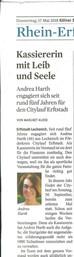 Zeitungsartikel über unsere Schatzmeisterin