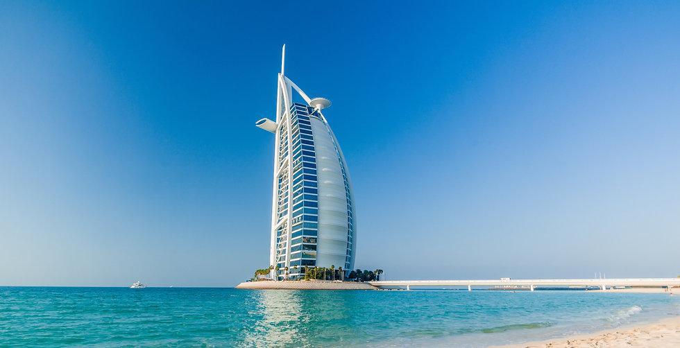 View of the luxury beach of Dubai and Bu