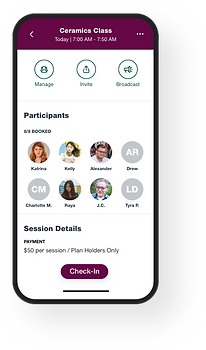 Image of the Wix Mobile app for managing your class attendance on-the-go