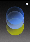 Abstract image of multiple blue and yellow circles on a black backdrop. Stretch icon in the corner