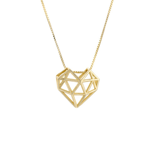 Heart Truss Necklace Gold Geometric Jewelry HighEnd Gold