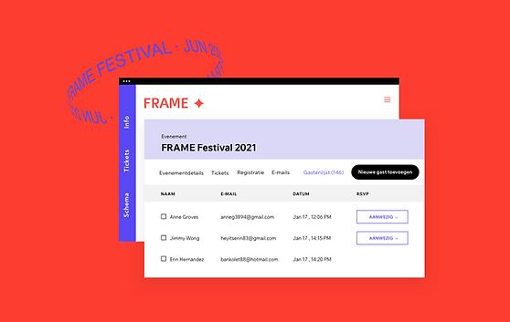 De afbeelding van de gastenlijst op een Wix Events website