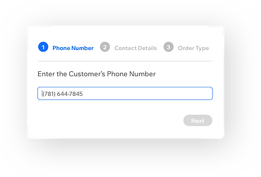 The entry field for a customer phone number in the Wix restaurants phone order management system.