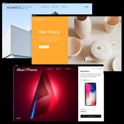 3 páginas iniciais de sites