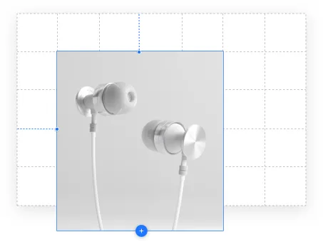 A pair of white headphones on a grid background