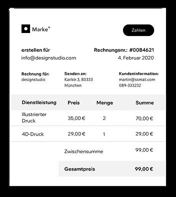 Rechnung für Kunden erstellt mit Wix.