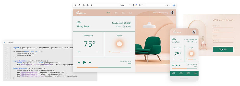 Kod aplikacji MyHome i zrzuty ekranu interfejsu użytkownika na komputerze stacjonarnym i urządzeniu mobilnym.