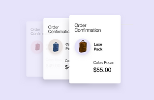 3 order confirmations for 3 different backpack purchases from online store.