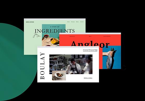 3 páginas de restaurantes diferentes creadas con el editor de páginas web de restaurantes de Wix.