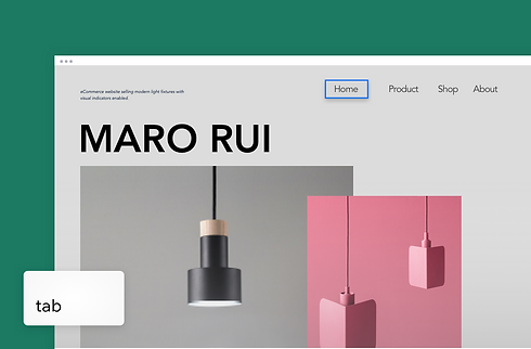 A Wix eCommerce website selling modern light fixtures with visual indicators enabled.