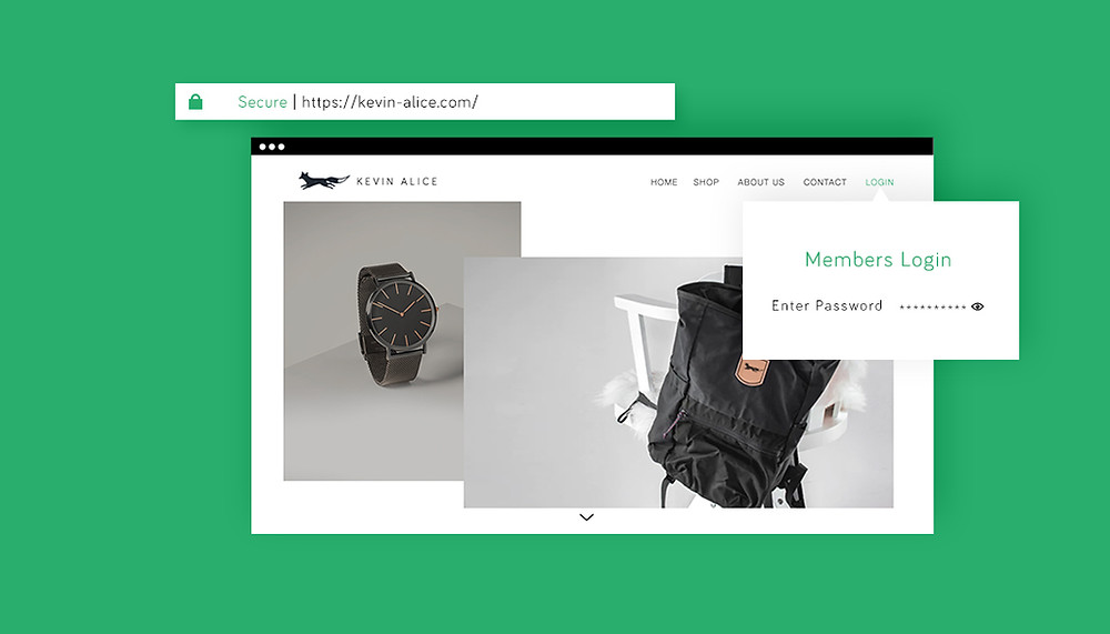 Online store for watches and apparel with a 'members login'