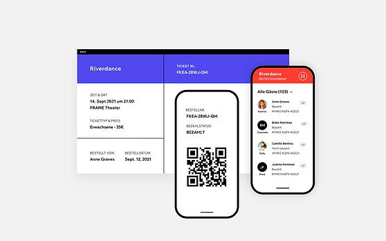 Bild eines Ticketbelegs mit den Informationen des Gastes 2. Bild eines Mobiltelefons mit einem QR-Code für ein Mobileticket 3. Bild eines Mobiltelefons mit der Gästeliste der Veranstaltung