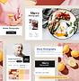 Web s fotografiemi jídla představující n