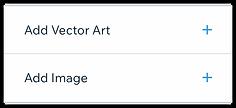 ตัวเลือกเพื่อเพิ่มรูปภาพหรือภาพศิลปะ Vec