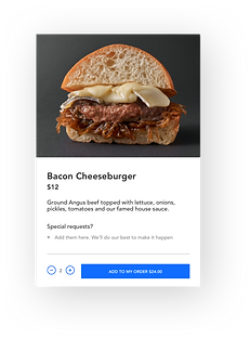 A bacon cheeseburger displayed as an item on a restaurant menu in the Wix online ordering system for restaurants.