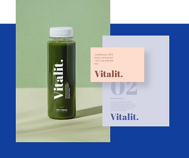 En elegant genomskinlig flaska med en Wix-designad logga med texten Vitalit.