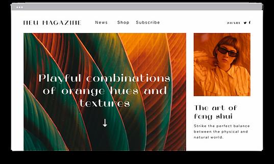 Un sitio web de una revista publicada creada con tecnología Corvid para páginas web más complejas.