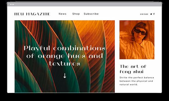Сайт журнала, созданный с использованием технологии Corvid для создания более сложного веб-сайта.