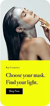 Homepage of site on a mobile device showing a woman using a face cream