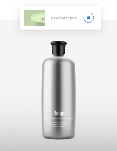 2 grey bottles - 1 large, 1 small on a grey background