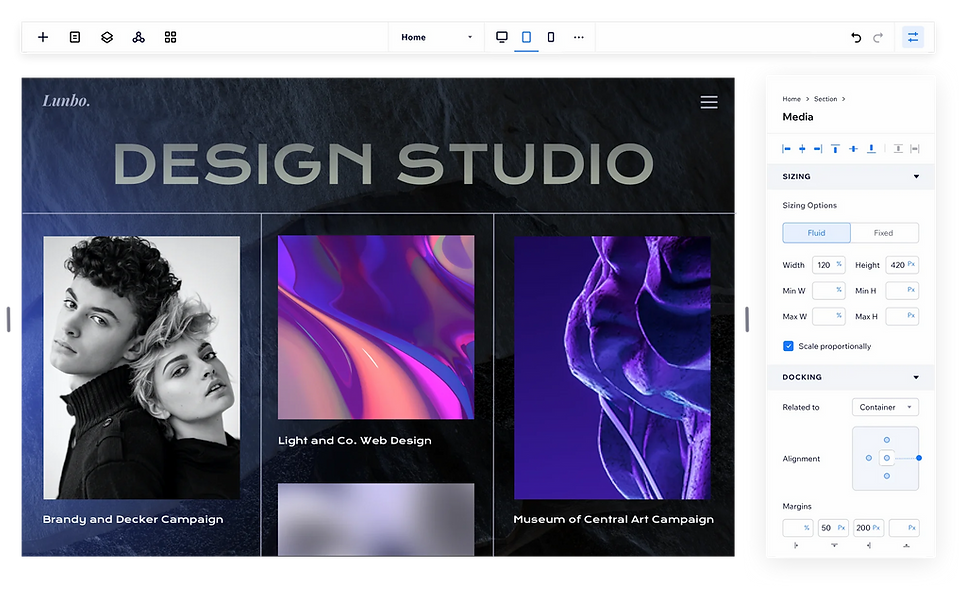 Website for design studio, Lumbo, is being created on Editor X. A flexbox layout shows off thumbnail images of 3 projects with striking colors and portraits.