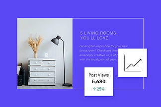 A blog post about home decor with icons of analytics stats on how well the post performed.