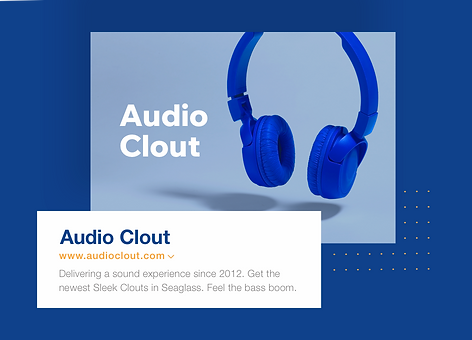 Online audio electronics business with Audio Clout business name, URL and meta-tags.