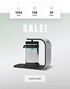 Email Marketing campaign for a sale on a water filter. Icons at the top show the number of emails that were sent, the number that were viewed and the number that received clicks.