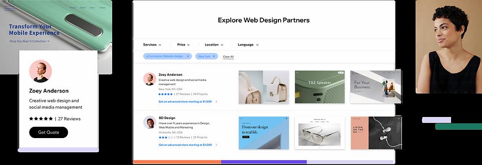 Wix Marketplace ページの Web デザイナー一覧