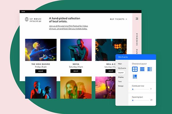 Сайт, созданный для музыкального фестиваля, редактируемый с помощью редактора Wix.