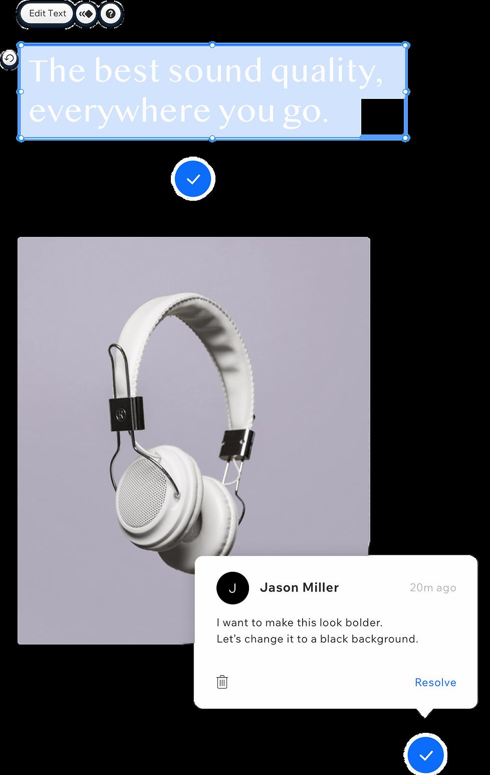 Site de fones de ouvido com comentários de um membro da agência.