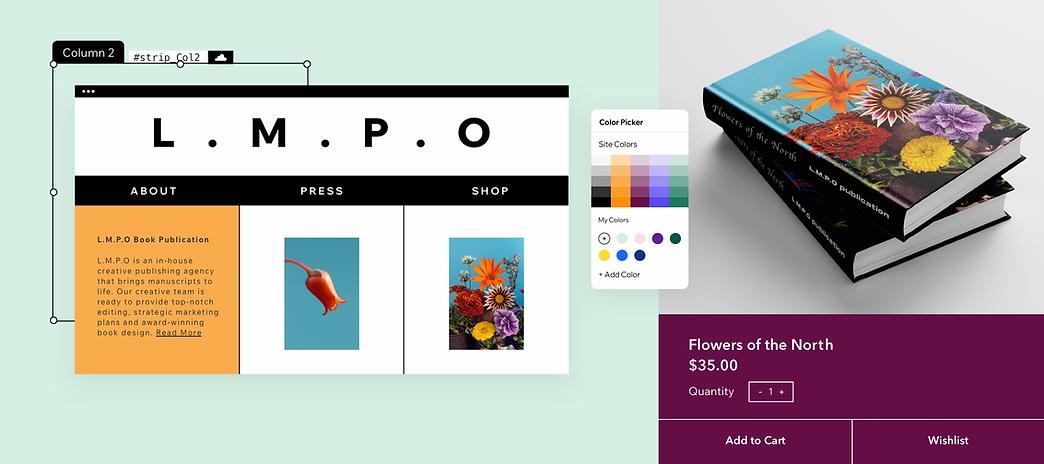 Редактирование веб-сайта публикации книги и демонстрация функций дизайна, таких как цветовая палитра, визуальный контент и многое другое.