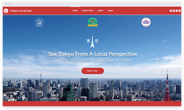 Homepage with city background.